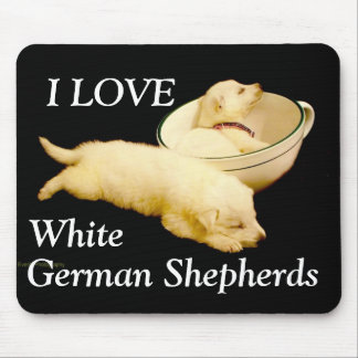 I LOVE White German Shepherds Mouse Pads