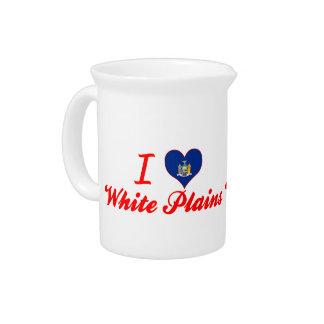 I Love White Plains, New York Drink Pitchers