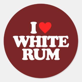 I LOVE WHITE RUM CLASSIC ROUND STICKER