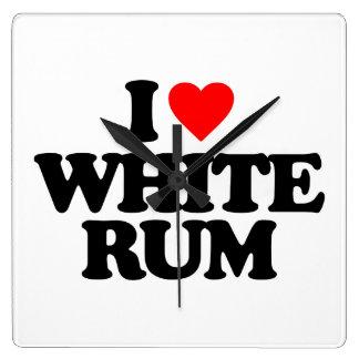 I LOVE WHITE RUM SQUARE WALL CLOCK
