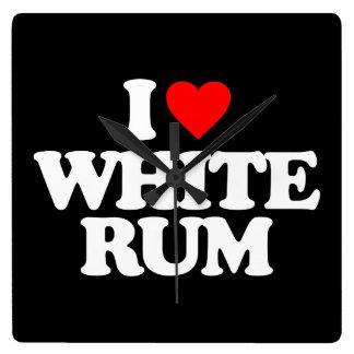 I LOVE WHITE RUM SQUARE WALLCLOCKS