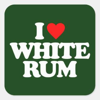 I LOVE WHITE RUM SQUARE STICKER
