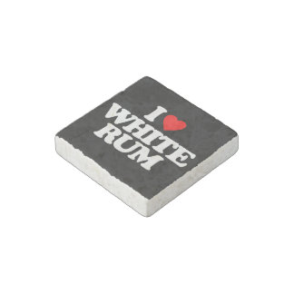 I LOVE WHITE RUM STONE MAGNET