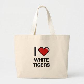 I love White Tigers Digital Design Jumbo Tote Bag