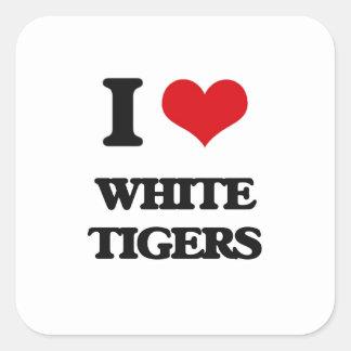 I love White Tigers Square Sticker