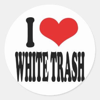 I Love White Trash Classic Round Sticker