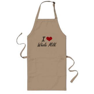 I Love Whole Milk artistic design Long Apron