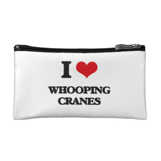 I love Whooping Cranes Cosmetics Bags