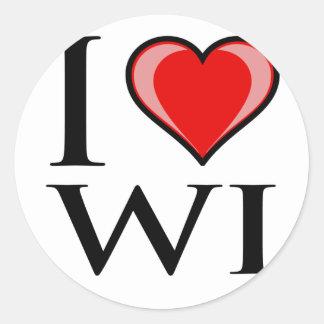 I Love WI - Wisconsin Classic Round Sticker