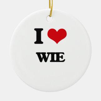 I Love Wie Round Ceramic Ornament