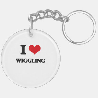 I love Wiggling Double-Sided Round Acrylic Keychain