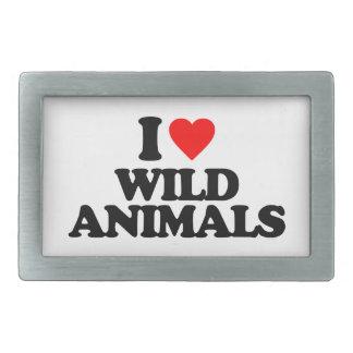 I LOVE WILD ANIMALS RECTANGULAR BELT BUCKLES