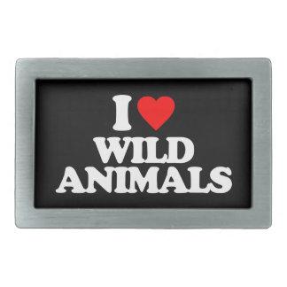 I LOVE WILD ANIMALS RECTANGULAR BELT BUCKLE