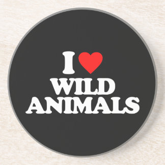 I LOVE WILD ANIMALS BEVERAGE COASTER