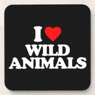 I LOVE WILD ANIMALS DRINK COASTER
