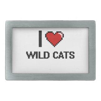 I love Wild Cats Digital Design Rectangular Belt Buckles