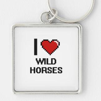 I love Wild Horses Digital Design Silver-Colored Square Keychain