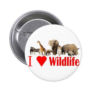 I love wildlife pinback button