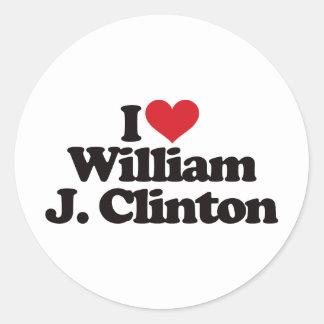 I Love William J Clinton Classic Round Sticker