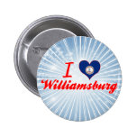 I Love Williamsburg, Virginia Pinback Button