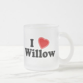 I Love Willow Frosted Glass Coffee Mug