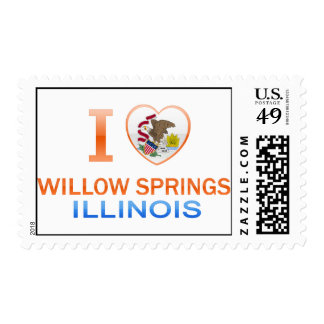 I Love Willow Springs, IL Postage Stamps
