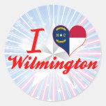 I Love Wilmington, North Carolina Classic Round Sticker