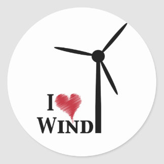 i love wind energy classic round sticker