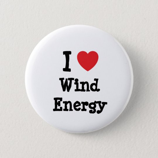 I love Wind Energy heart custom personalized Pinback Button