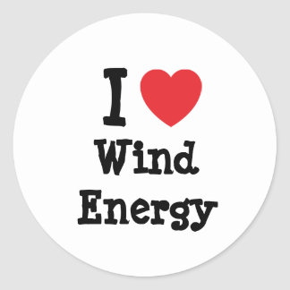 I love Wind Energy heart custom personalized Classic Round Sticker
