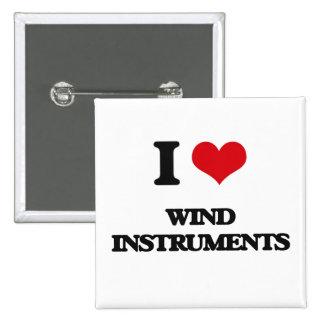I love Wind Instruments 2 Inch Square Button