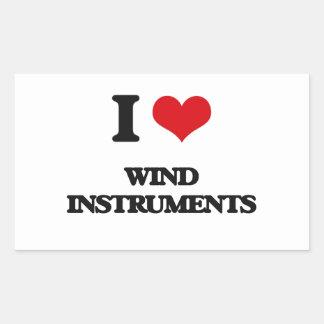 I love Wind Instruments Rectangular Sticker