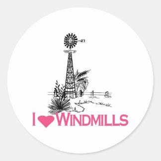 I Love Windmills Classic Round Sticker