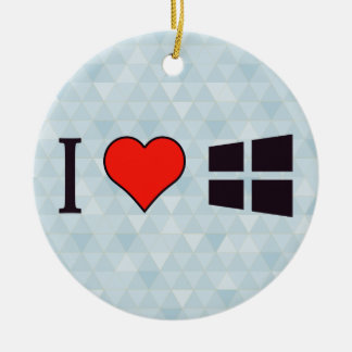 I Love Windows Ceramic Ornament