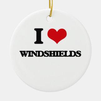 I love Windshields Round Ceramic Ornament