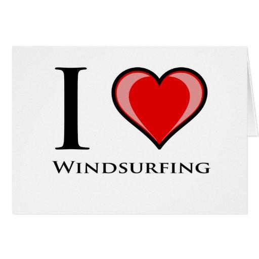 I Love Windsurfing Card
