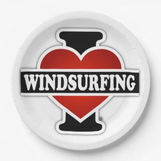 I Love Windsurfing Paper Plate