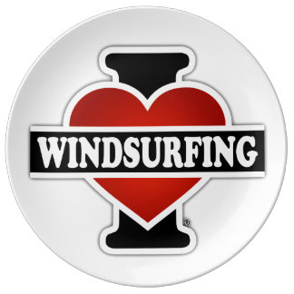 I Love Windsurfing Porcelain Plate