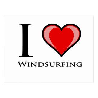 I Love Windsurfing Postcard
