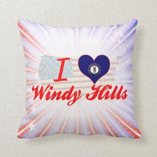 I Love Windy Hills, Kentucky Throw Pillows