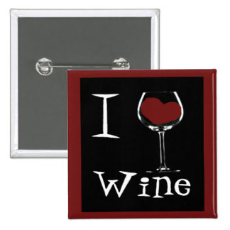 I Love Wine-Heart Pinback Buttons