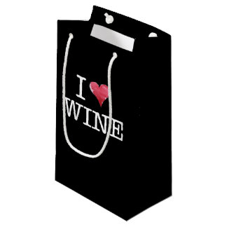 I love wine heart wine enthusiast small gift bag