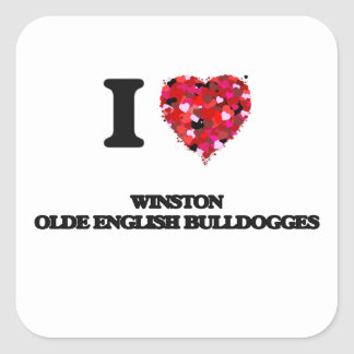 I love Winston Olde English Bulldogges Square Sticker