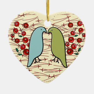 I Love Winter Birds and Berries (Personalized) Ceramic Ornament
