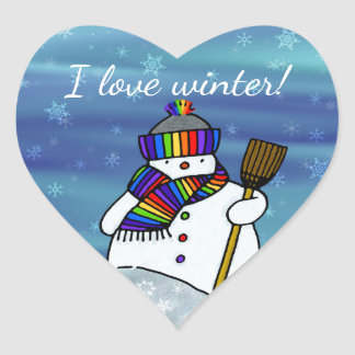 I love winter! heart sticker