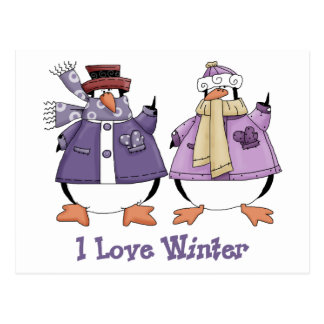 I Love WInter Penguin Tees and Gifts Postcard
