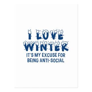 I Love Winter Postcard