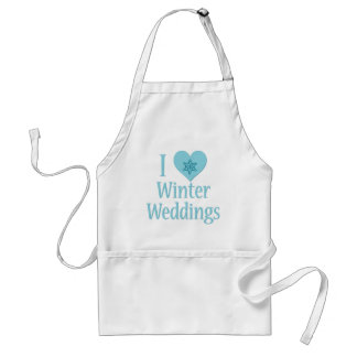 I Love Winter Weddings Adult Apron