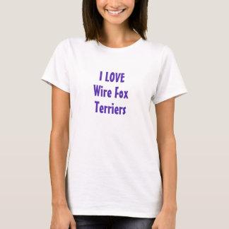 I Love Wire Fox Terriers Purple T-Shirt