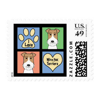 I Love Wire Fox Terriers Stamp